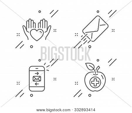 E-mail, Hold heart and Mail line icons set. Medical food sign. Mail delivery, Care love, Smartphone communication. Apple. Business set. Line e-mail outline icon. Vector stock photo