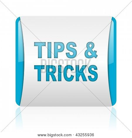 tips blue and white square web glossy icon stock photo