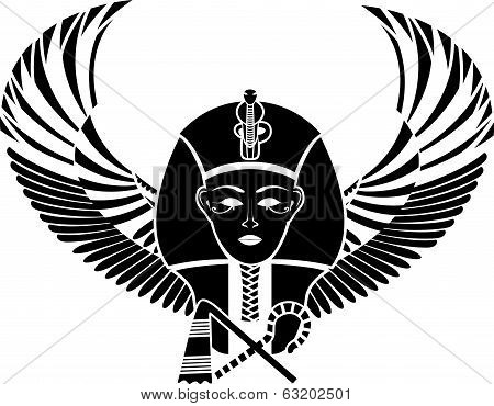 Egyptian pharaon with wings full face vector ilstration for web stock photo