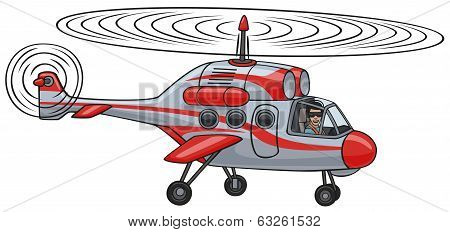 Cartoon rescue helicopter flying in the air. stock photo