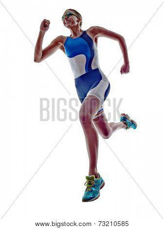 woman triathlon ironman athlete runner running  on white background stock photo