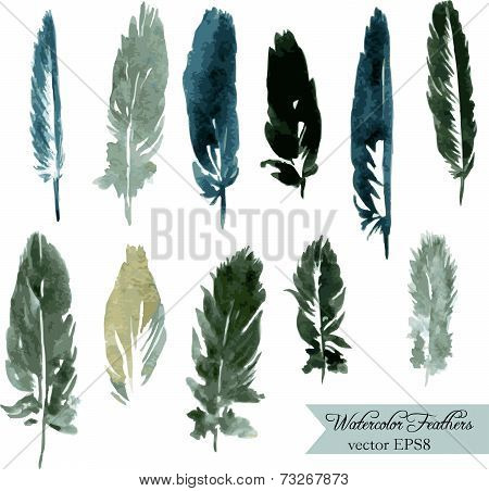 set of plumes, watercolor drawing feathers, hand drawn vector illustration stock photo