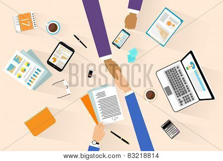 Business people handshake meeting signing agreement, businessmen hand shake sitting at desk top angl