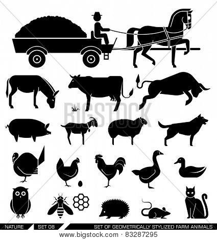 Set of various farm animal icons: horse, cow, goat, sheep, dog, cat, chicken, turkey. Vector illustr