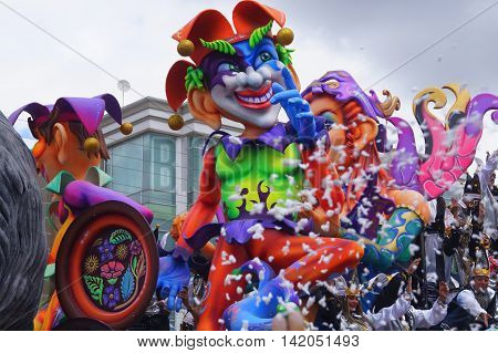 colorful carnaval floats in Pasto Colombia, Carnaval de Blancos y negros
