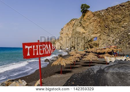 Therma - a popular beach and hot springs on Kos island, Dodecanese, Greece. stock photo