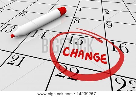 Change Day Date Major Shift Different Plan Calendar 3d Illustration stock photo