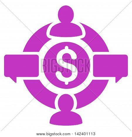 Financial Social Network icon. Vector style is flat iconic symbol with rounded angles, violet color, white background.