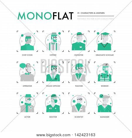 Infographics icons collection of male characters avatars various profession business employee. Modern thin line icons set. Premium quality vector illustration concept. Flat design web graphics elements. stock photo