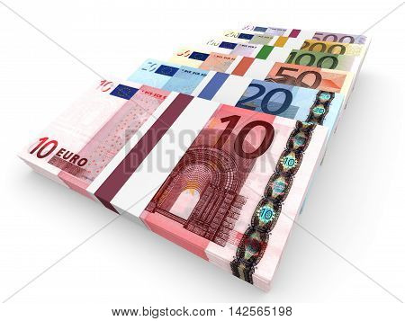 Different Euro bank notes on white background. 3D illustration. stock photo