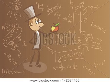 background on the topic of physics with physical equations and Newton stock photo