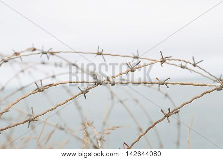 Detail of a barbed World War II France stock photo