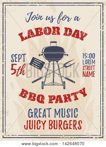 Vintage Labor Day BBQ party background. Barbecue Poster, brochure or flyer template. Vector illustration.