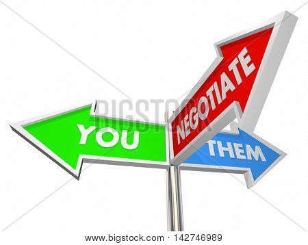 You Them Negotiate Compromise Settlement Three Way Signs 3d Illustration stock photo