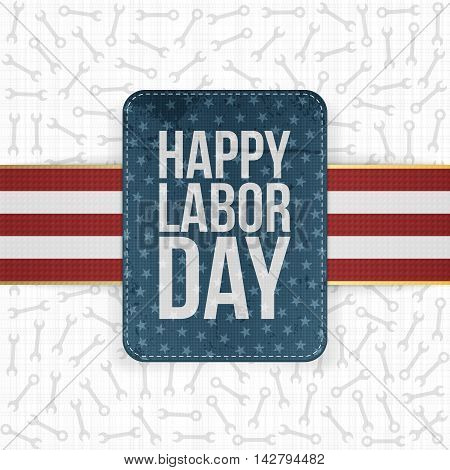 Happy Labor Day realistic paper Label. Vector Illustration