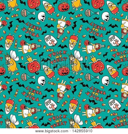 Halloween seamless pattern design. Vector background with children in costumes pumpkin sweets and stylish lettering 'Trick or tread' stock photo