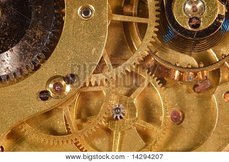 Closeup of the interlocking gears of a pocket watch stock photo
