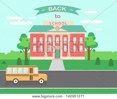 Time to go back school vector illustration background. Bus,  and school facade composition. Flat style design stock photo