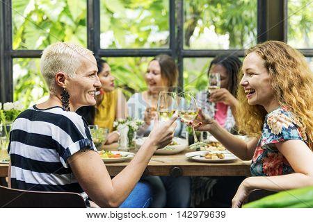 Girlfriends MeetUp Hangout Dining Concept stock photo