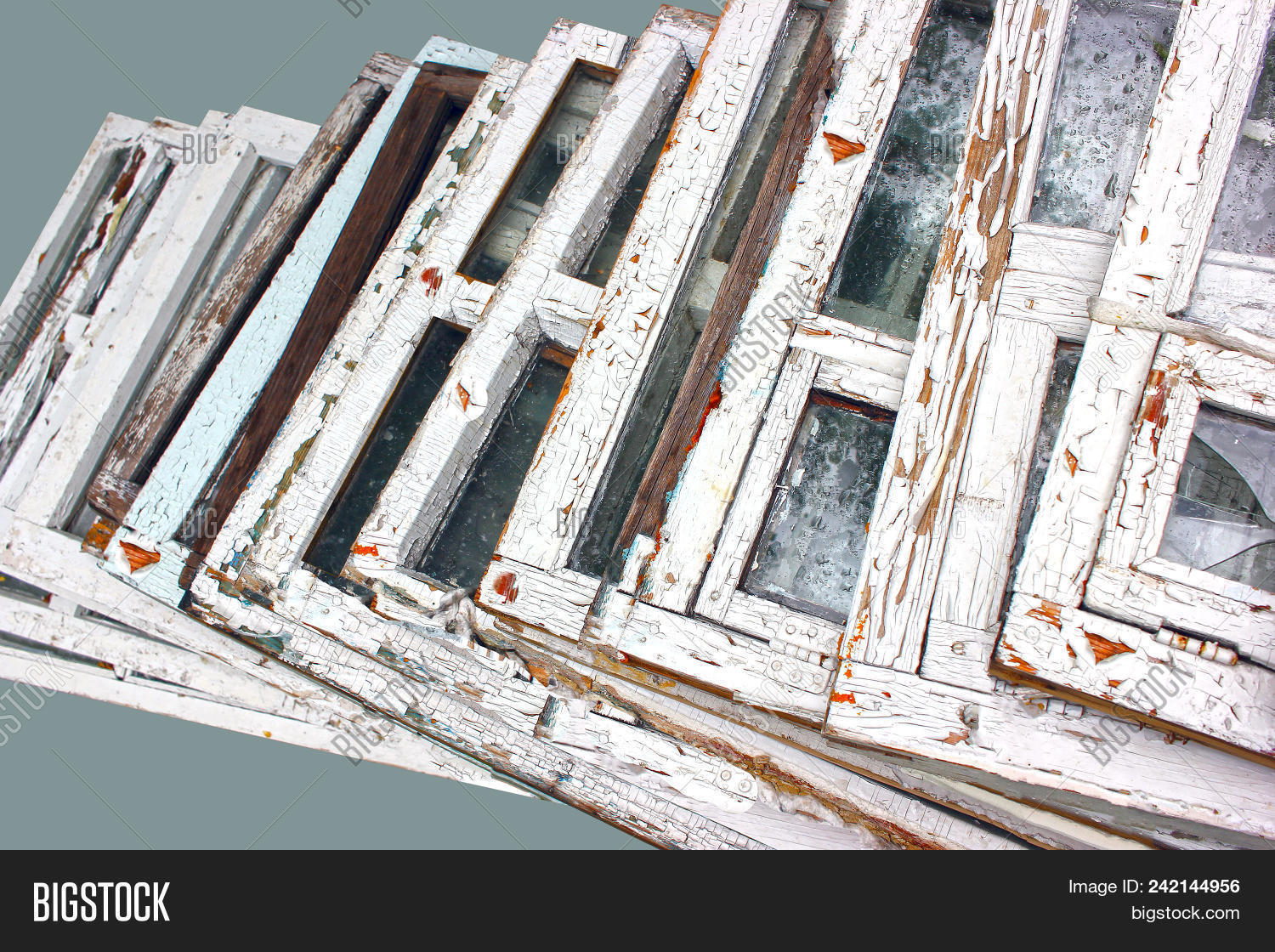 ▷ Window Frame. A Broken Window With An Old Wooden Frame With The ...