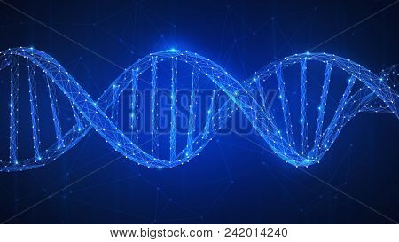 DNA chain futuristic hud background with spiral chain of nucleotides. Health, medicine, chemistry, b