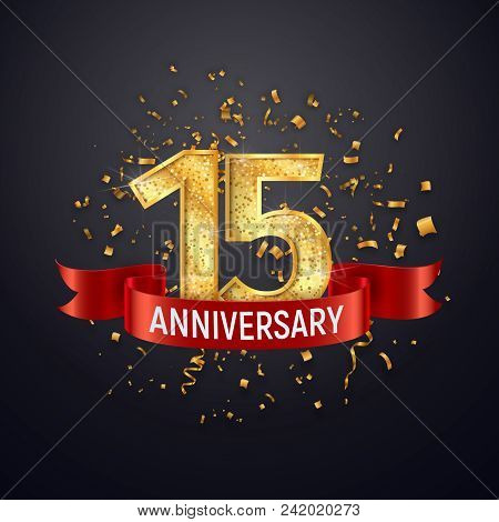 15 years anniversary logo template on dark background. Fifteenth celebrating golden numbers with red ribbon vector and confetti isolated design elements stock photo