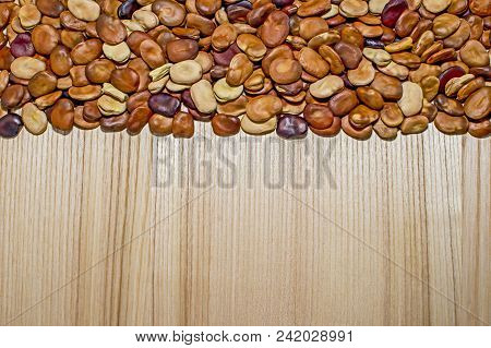 The fruits of the beans lie on a light background of a wooden table of ash with a pronounced texture. Background. The place for drawing text stock photo