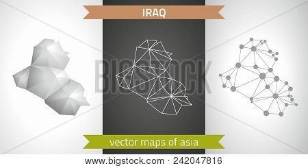 Iraq set of grey and silver mosaic 3d polygonal maps. Graphic vector triangle geometry outline shadow perspective maps stock photo