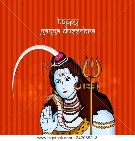 illustration of Hindu God Shiva with Happy Ganga Dussehra text on the occasion Hindu Festival Ganga Dussehra stock photo