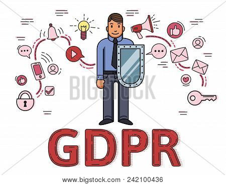 Businessman with a shield among internet and social media symbols. General data protection regulation. GDPR, RGPD, DSGVO, DPO. Vector illustration on white background. Flat line style. stock photo