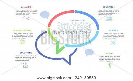 Two speech bubbles with word clouds inside surrounded by thin line symbols and text boxes. Concept of conversation, communication and messaging. Minimal infographic design layout. Vector illustration. stock photo