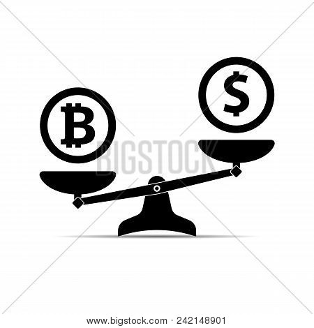Scales with two bowls. On one side of the scale is money, on the second scale is bitcoin. Vector illustration Flat design. stock photo