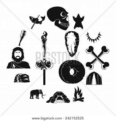 Caveman icons set. Simple illustration of 16 caveman vector icons for web stock photo