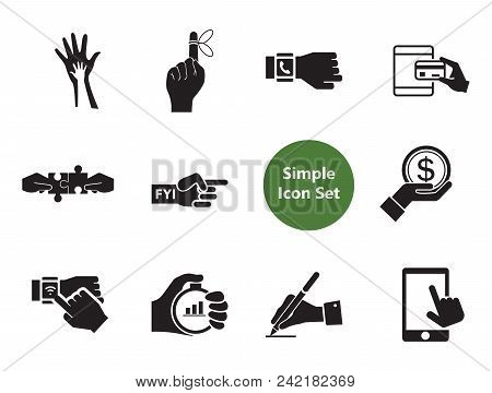 Hands simple icons set with handshake, helping hands and reminder hand. Thirteen vector icons stock photo