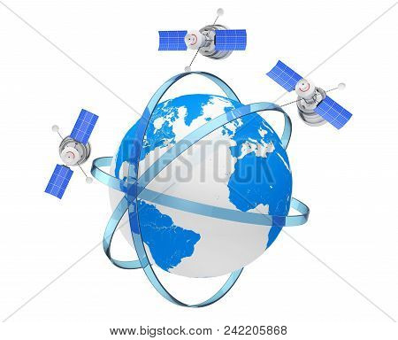 Modern World Global Navigation Satelite in Eccentric Orbits around the Earth Globe on a white background. 3d Rendering stock photo