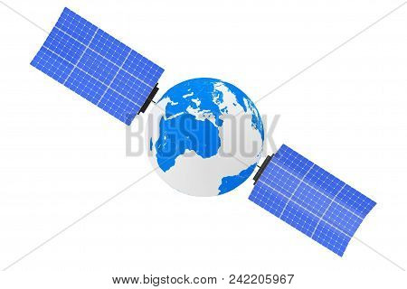 Earth Globe as Satelite on a white background. 3d Rendering stock photo