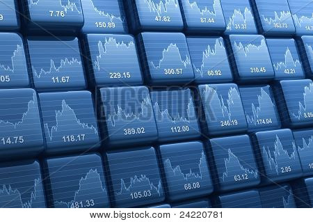 Digital generated group of cubes with share prices stock photo