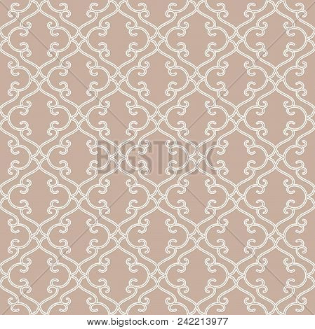 Abstract geometry pattern in Arabian style. Seamless vector background. White and beige graphic ornament. Simple lattice graphic design stock photo