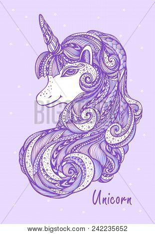 Decorative ornamental Zen tangle Zen doodle Unicorn pink lilac made by trace for print or for t shirt or decoration different things stock photo