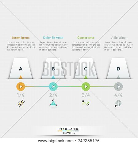 Four white quadrilateral elements with letters inside placed into horizontal row, 4 play buttons connected by line, linear icons and text boxes. Infographic design template. Vector illustration. stock photo