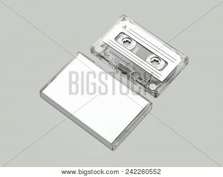 Light Realistic Retro Audio Cassette and White Box on light grey background, 3d rendering stock photo