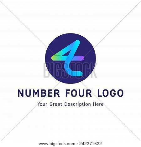 Logo design. Logotype for team company. Four logo. 4 logotype. Time for team logo concept. Gradient colors. Business concept. stock photo