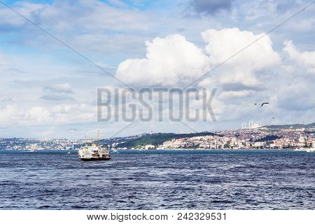 Travel to Turkey - view of Golden Horn bay with Golden Horn Metro bridge in Istanbul city in spring stock photo