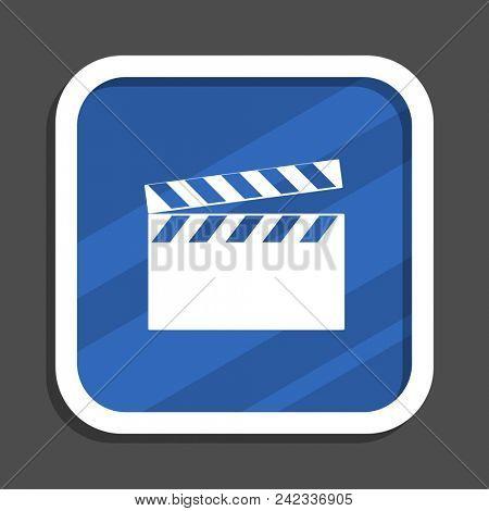 Video blue flat design square web icon stock photo