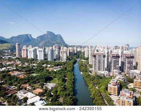 Aerial panorama of Barra da Tijuca near Lucio Costa Bridge on a sunny summer day. Rio de Janeiro.. stock photo