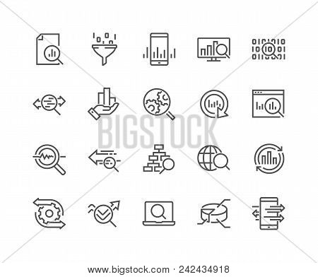 Simple Set Of Data Analysis Related Vector Line Icons. Contains Such Icons As Charts, Graphs, Traffi