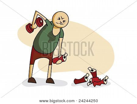 Illustration: guy lifting dumbbell in one hand and beer in the other stock photo