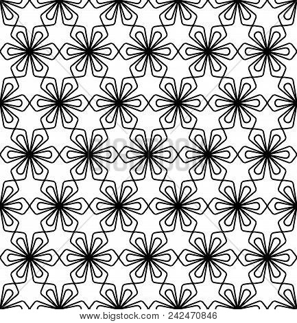 Japanese seamless pattern Kumiko black and white silhouette lines with a average thickness stock photo