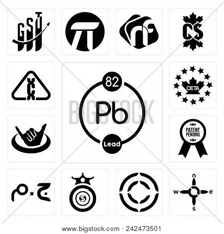 Set Of 13 Simple Editable Icons Such As Chemical N S E W Copyright