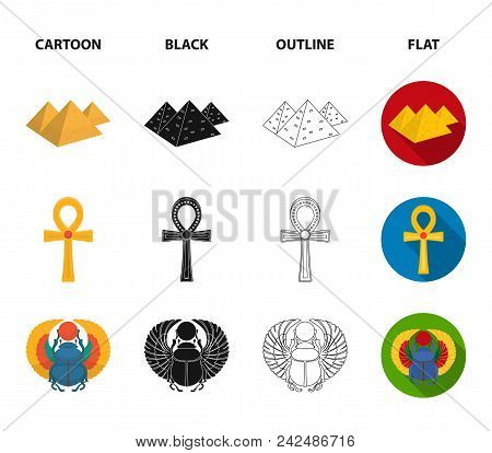 Anubis, Ankh, Cairo citadel, Egyptian beetle.Ancient Egypt set collection icons in cartoon, black, outline, flat style vector symbol stock illustration . stock photo